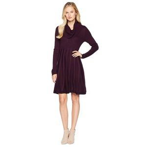 CALVIN KLEIN | COWL NECK FIT + FLARE SWEATER DRESS
